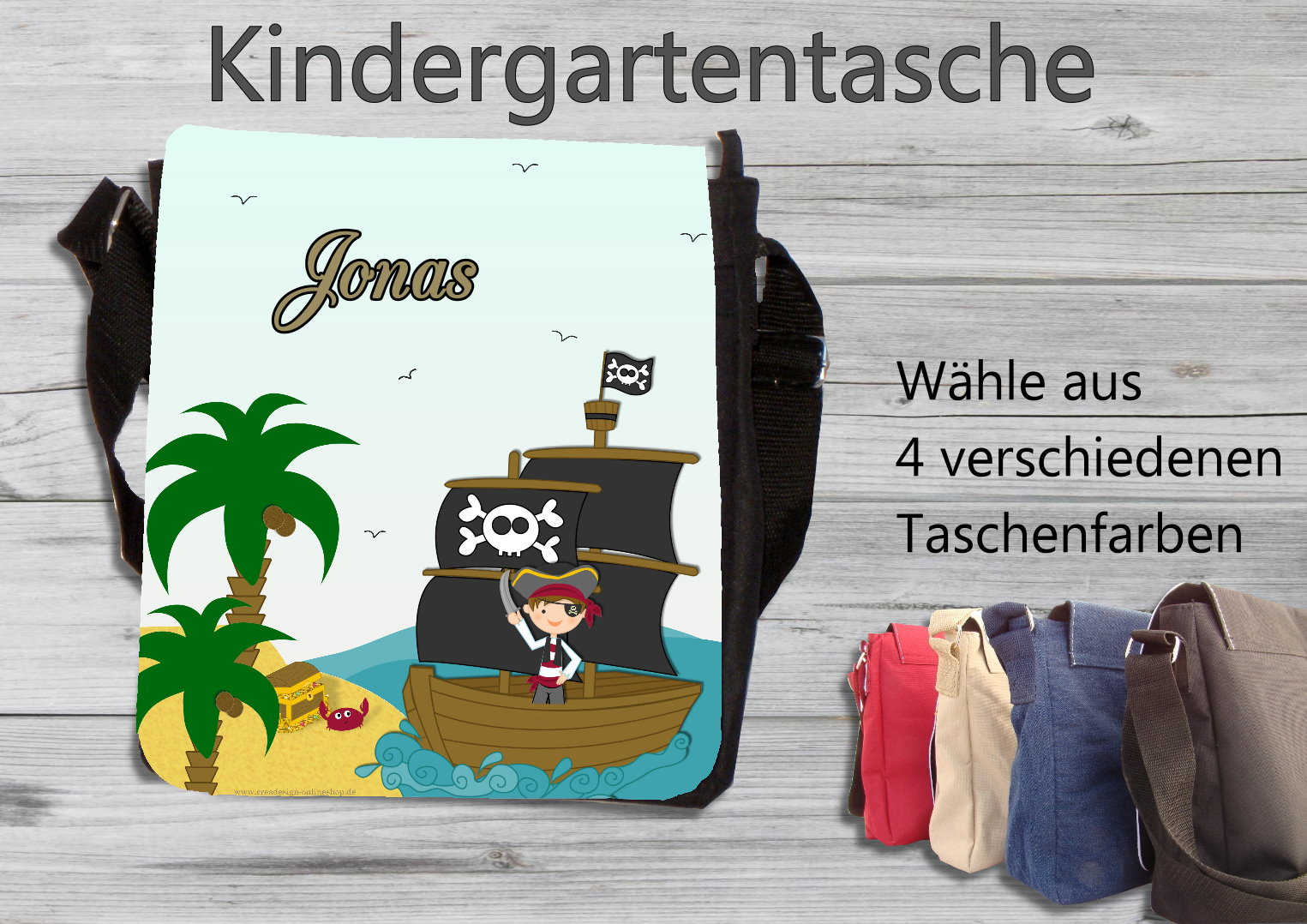 kindergartentasche pirat taschen mit namen personalisiertes nuggiketteli. Black Bedroom Furniture Sets. Home Design Ideas