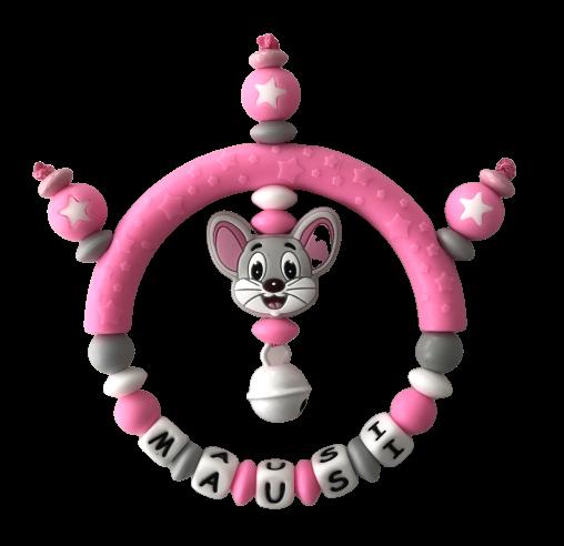 Silikon Greifling Maus rosa mit Namen