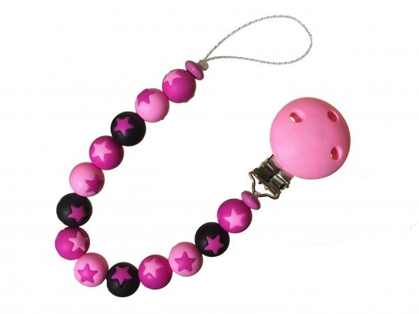 Sternen-Nuggiketteli pink-rosa-schwarz