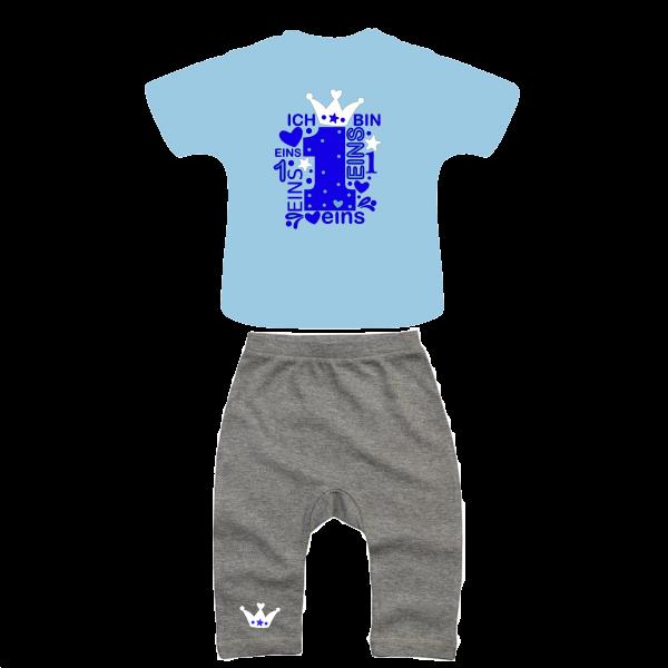 Geburtstags Outfit grau/hellblau