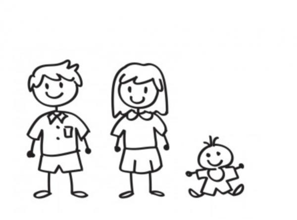 Familien Aufkleber 3 Personen