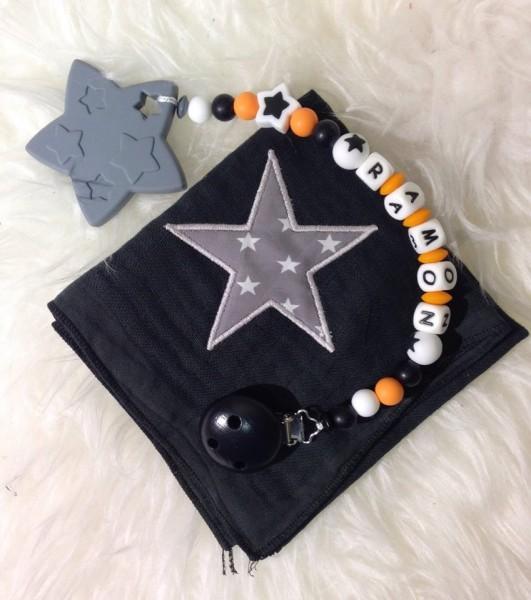 Geschenkset Nuschi& Beisskette Stern schwarz/orange