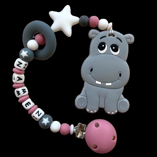 Beisskette Hippo rosa/grau
