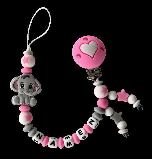 Silikon Nuggiketteli Elefäntli rosa/grau