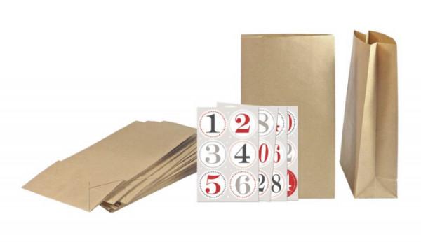 Adventskalender Säckli aus Kraftpapier