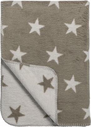 Baumwoll Kuscheldecke Sternen beige