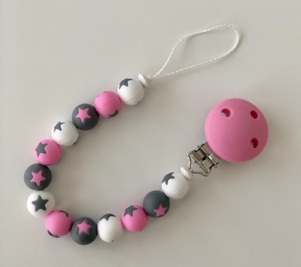 Sternen-Nuggiketteli weiss/grau/rosa