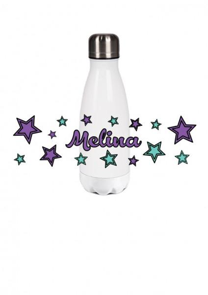 Thermosflasche klein Sterne mint/lila