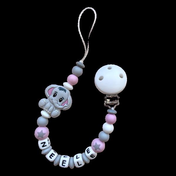 Silikon Nuggiketteli Elefant hellgrau/rosa