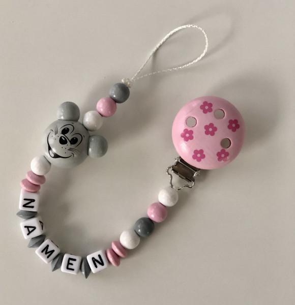 Nuggiketteli Maus rosa/grau