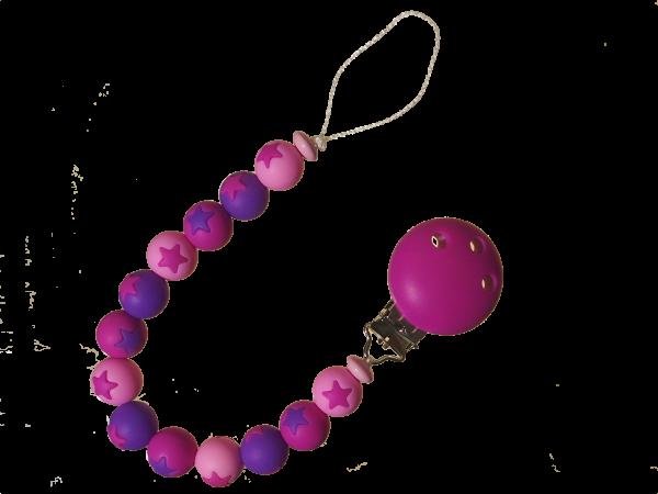 Sternen-Nuggikette pink-violett-rosa