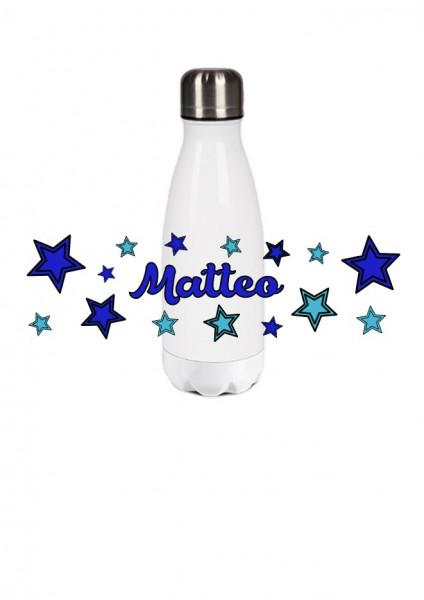 Thermosflasche klein Sterne hellblau/blau