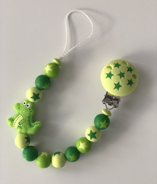 Silikon Nuggikette Krokodil grün