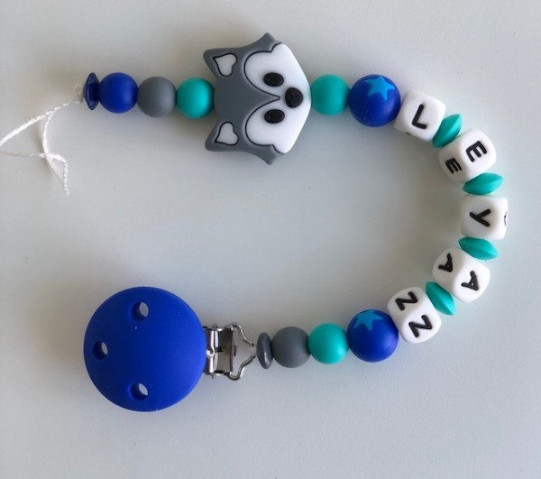 Silikon Nuggiketteli Fuchs grau/blau