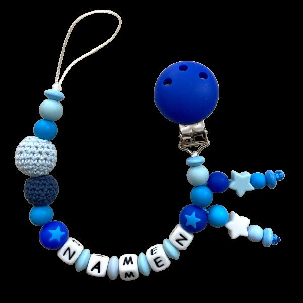 Silikon Nuggikette blau mit Häkelperlen