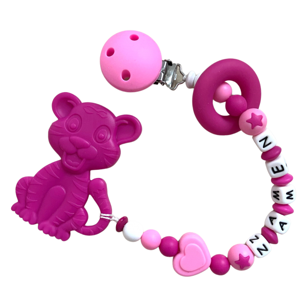 Beisskette Tiger rosa/pink