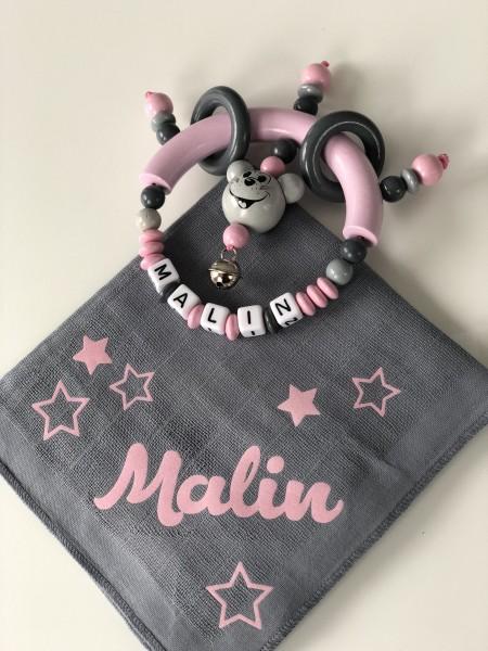 Geschenkset Greifling&Nuschi grau/rosa