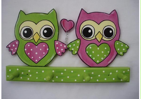Garderobe Eulenpaar grün/pink