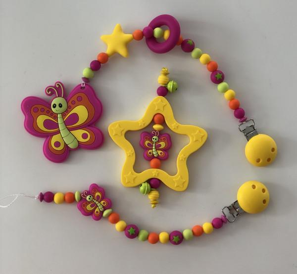 Geschenkset Schmetterling pink/gelb