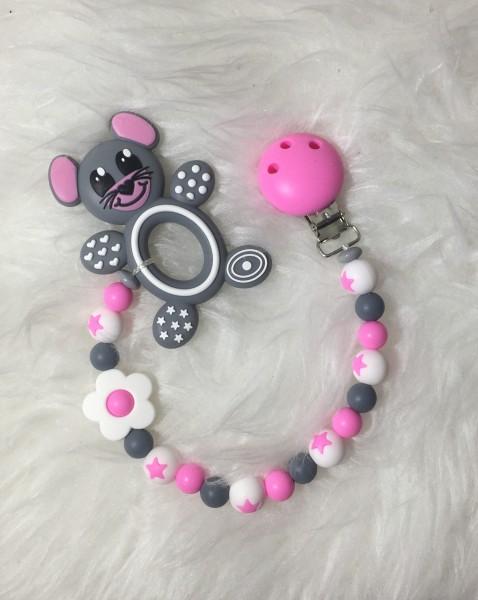 Beisskette Maus grau/rosa