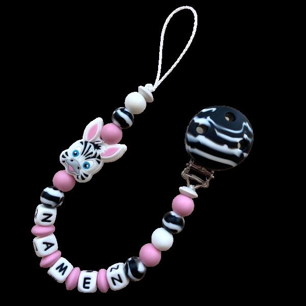 Silikon Nuggiketteli Zebra mit Zebraperlen