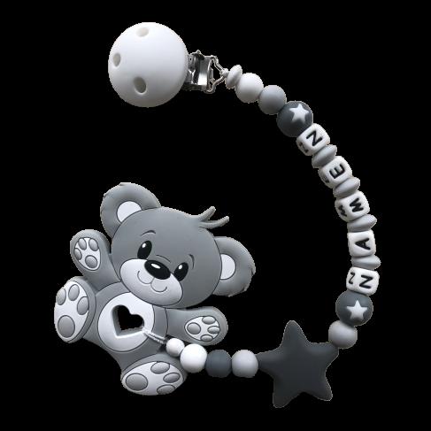 Beisskette Teddybär grau/weiss