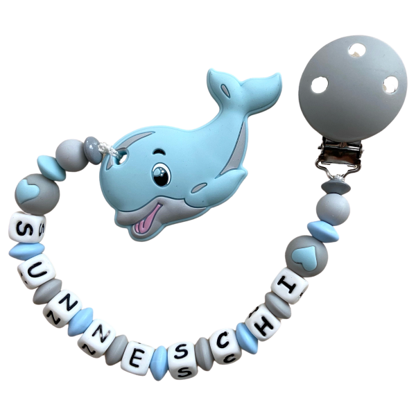 Beisskette Delfin hellblau/grau