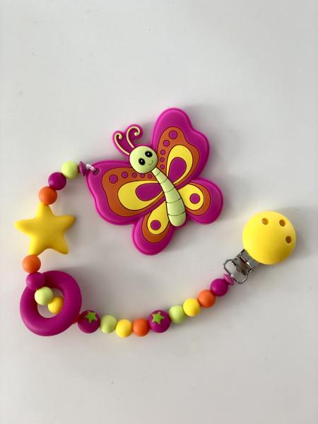 Beisskette Schmetterling pink/gelb