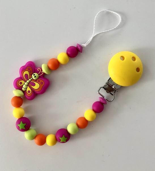 Silikon Nuggikette Schmetterling pink/gelb