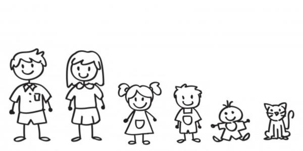 Familien Aufkleber 6 Personen