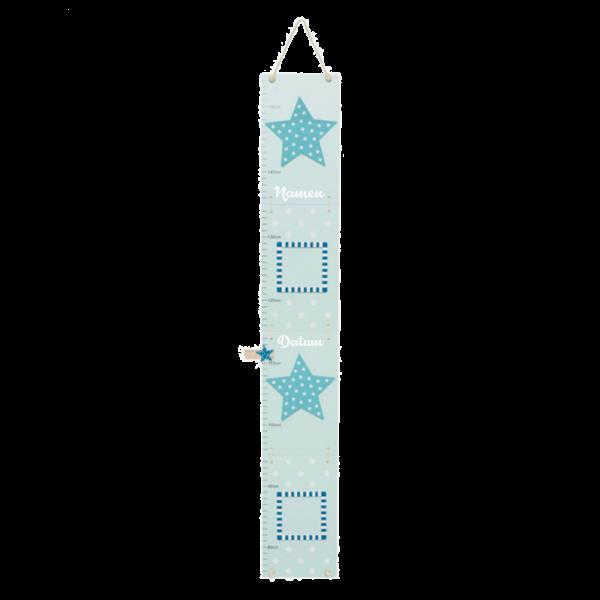 Messlatte hellblau mit Sternen