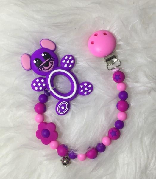 Beisskette Maus rosa/pink/violet