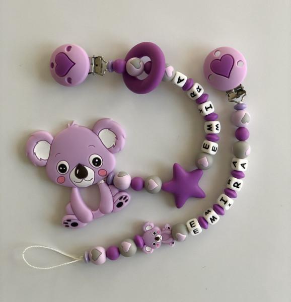 Geschenkset Koala lila/grau Beiss und Nuggikette