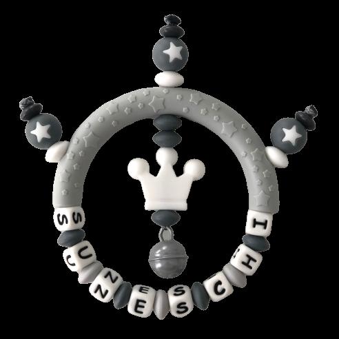 Silikon Greifling Krone grau/weiss mit Namen