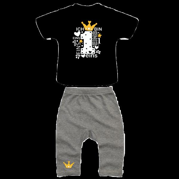 Geburtstags Outfit grau/schwarz/gold