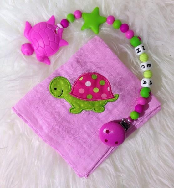 Geschenkset Nuschi& Beisskette Schildkröttli rosa