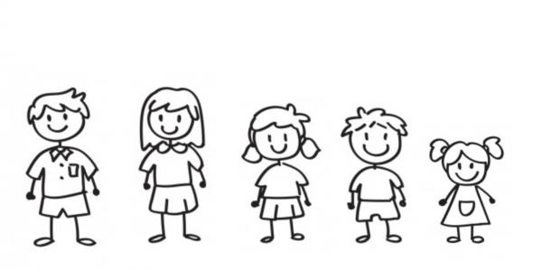 Familien Aufkleber 5 Personen