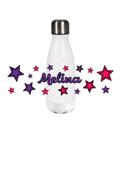 Thermosflasche klein Sterne lila/pink