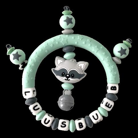 Silikon Greifling Waschbär mit Namen