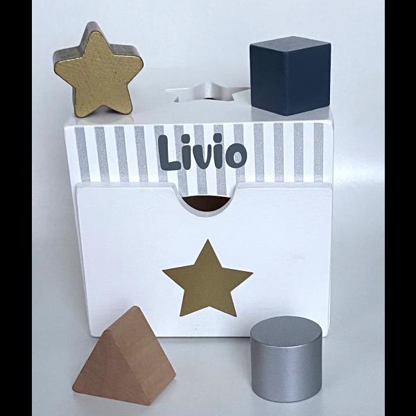 Sortierbox weiss/grau/gold