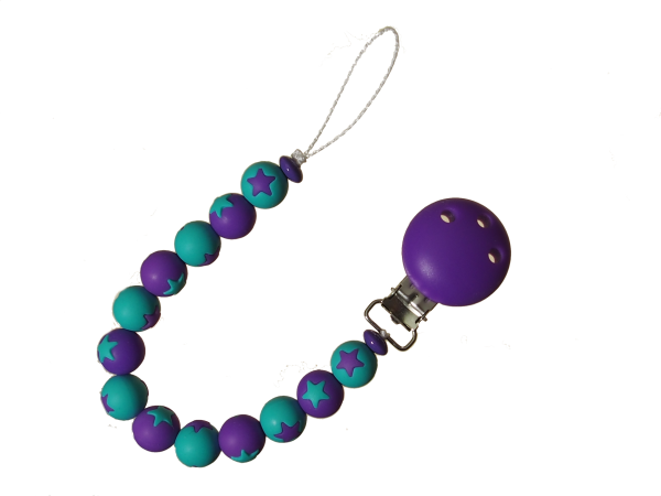 Sternen-Nuggikette türkis-violett